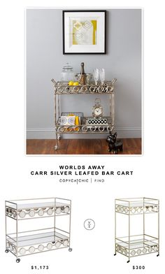 Worlds Away Carr Silver Leafed Bar Cart $1173 vs @pier1imports Imports Della Bar Cart $300