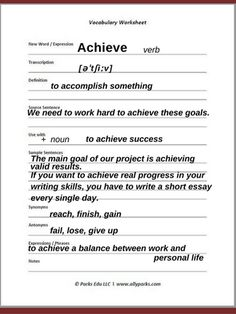 achieve meaning and sentence