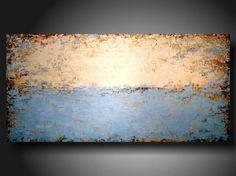 Art Original abstract Painting modern landscape painting medium blue art painting large landscape painting 24 X 48. $339.00, via Etsy.