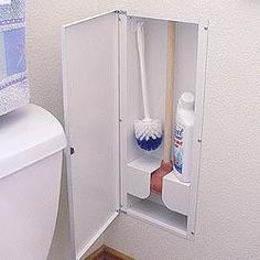 Toilet plunger & brush storage cabinet