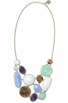 Stella & Dot Oasis Bib Necklace. Lovely arrangement for Soft Summer, probably Yin Natural? Excellent soft white. Water, sky, and stone. Very nice.