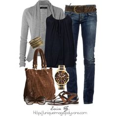 Tank with open front cardigan ; love this watch!