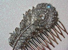 peacock rhinestone hair clip