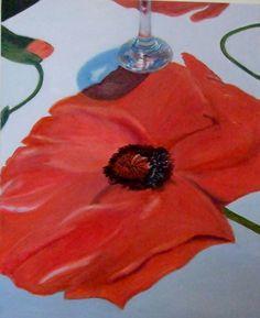 'Poppy tablecloth with wine glass,' oil on canvas,  76 x 60cms, Hiawyn Oram 2014