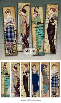 FASHIONABLE VINTAGE BOOKMARKS - Digital Collage Sheet Printable Download Paper goods journaling