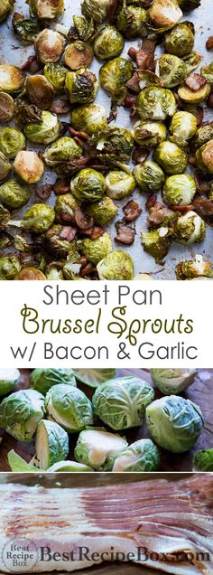 Sheet Pan Roasted Brussels Sprouts With Bacon and Garlic Sheet Pan Roasted Brussels Sprouts With Bacon and Garlic One Pan Sheet Pan Brussels Sprouts Recipe with Bacon and Garlic Bacon Recipes, Vegetable Recipes, Healthy Recipes, Diet Recipes, Vegetarian Recipes, Brussels Sprouts Recipe With Bacon, Roasted Sprouts, Sprout Recipes, Roasting Pan