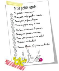Petite comptine de Pâques en chocolat French Poems, Bullet Journal, Easter, Education, Petite Section, Chant, Logo, Good Boyfriend, Boyfriends