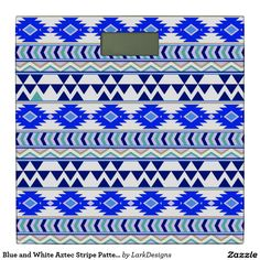 Blue and White Aztec Stripe Pattern Bathroom Scale
