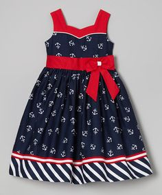 Look what I found on #zulily! Jayne Copeland Navy & Red Anchor Dress - Girls by Jayne Copeland #zulilyfinds