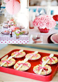 Mini pies and a gorgeous table! - from http://karaspartyideas.blogspot.com/2010/03/vintage-polka-dot-party.html