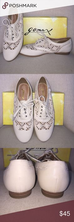 Gomax Mad Men Lace Oxfords in Beige sz 8.5 Gomax makes these Mad Men Lace Oxfords in Beige sz 8.5.  NWT never worn.  The color is a light beige, what I call bone.  Lace up. The shoe has a woven and faux leather mix. Small heel. Super super cute. We're purchased for a 50's style event and never worn.  Pointed out what looks like a glue area on the right upper. I'd ♥️ you to peek at my closet. Everything I sell is authentic because everything I buy is authentic. Thx for looking ❤️! Gomax Shoes…