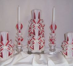 Carved candle# bow and rose wedding unity candles accented with pearls
