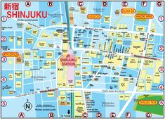 TOKYO POCKET GUIDE: Shinjuku Tokyo map in English for things to do, tourist attractions and cultural sites / 新宿 東京 おすすめ スポット マップ
