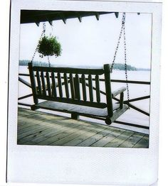 Swinging Bench and beautiful view of a lake Swinging Chair, Porch Swing, Outdoor Furniture, Outdoor Decor, North America, Life Is Good, Swing Chairs, Inspiration, Benches