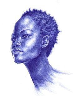 Blue Ballpoint Pen Portrait by Carliihde.deviantart.com