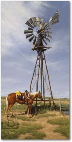 jack of all trades rancher cowboy working on windmill horse western art prints artist Country Barns, Old Barns, Country Life, Cowboy Horse, Cowboy Art, Farm Windmill, Windmill Diy, Westerns, Old Windmills