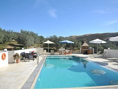 Rethymno villa rental - Villa Maria-The pool terrace is equipped with sunbeds and umbrellas! Old City, Villas, Terrace, Swimming Pools, Umbrellas, Outdoor Decor, Holiday, House, Balcony