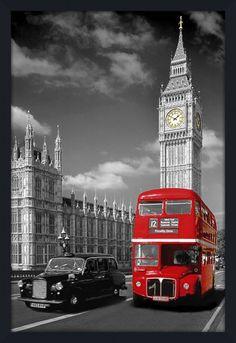 Quadro Decorativo Poster Londres Ônibus Vermelho Taxi Preto e Torre do Big Ben 64x94cm