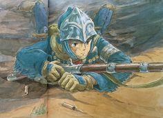 Illustrations done for the Nausicaa manga ===== Manga began running in monthly 'Animage' in Feb. 1982, collected in order of appearance ===== Notes: 1 of 7 pictures I was asked to do for a calendar.