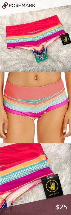 NEW Tommy Hilfiger Swimwear Sailing Stripes Boyshort Bikini Bottom RED white S