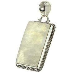 "925 Sterling Silver RAINBOW MOONSTONE Pendant, 1.75"" Bead…"