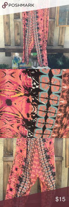 Funky harem-style pants Beautiful rose animal/pattern print pants Volcom Pants