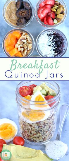 Wake up in the morning & have #breakfast waiting on you with these simple Breakfast Quinoa Jars! A variety of toppings will keep breakfast exciting throughout the week. #quinoa #mealplanning #recipes