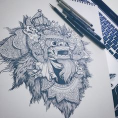 Next to digital processing Tattoo Design Drawings, Tattoo Designs, Barong Bali, Balinese Tattoo, Mask Tattoo, Tattoo Ship, Dragons, Tattoo Video, Tattoo Illustration
