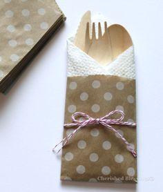 10 silverware flatware bags w wooden utensils cutlery table setting cutlery rustic wedding birthday party - Erfolgreiche Party Im Garten Organisieren