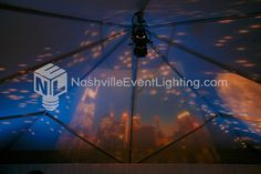 Skyline used as the backdrop for a band at a wedding reception.  Available from Nashville Event Lighting