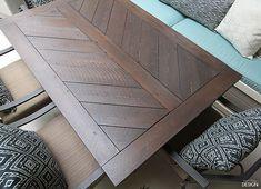 new Ideas metal patio furniture farmhouse table Metal Patio Furniture, Wood Patio, Repurposed Furniture, Diy Furniture, Pallet Patio, Diy Patio, Plywood Furniture, Furniture Projects, Modern Furniture