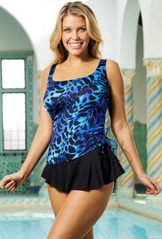 Longitude Kitten Plus Size Tank Sarong Swimsuit