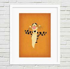 Winnie the Pooh Minimalist Artwork Print - Tigger Vintage Nursery, Vintage Wall Art, Vintage Walls, Minimalist Artwork, Minimalist Poster, Artwork Prints, Poster Prints, Winnie The Pooh Nursery, Baby Art