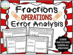 Engage your students with 16 Error Analysis worksheets covering all fraction operations, including multiplying fractions, dividing fractions, adding fractions, and subtracting fractions. $