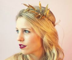 Metallic gold laurel wreath halo - Laurel Halo by Beyond A Veil Www.Beyondaveildesigns.com