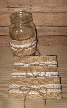 #RUSTIC WEDDING #BURLAP LACE  #MASON JARS #DECORATIONS Burlap Mason Jar Sleeves, Wedding Decor, Bridal Shower, Baby Shower