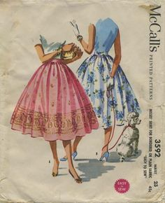 Vintage Circle Skirt Sewing Pattern | McCall's 3592 | Year 1956 | Bust n/a | Waist 23 | Hip 32