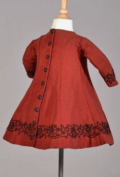 child's red wool dress from 1860's