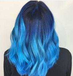 30 Popular & Magical Mermaid Hair Ideas For 2018 Summer - Cool Global Hair Styles 2019 Hair Dye Colors, Ombre Hair Color, Cool Hair Color, Hair Colour, Red Blonde Hair, Lilac Hair, Pelo Color Azul, Blue Wig, Dye My Hair