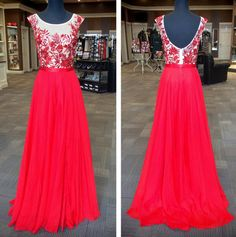 Red Custom Made A-Line Real Made Charming Prom Dress,Chiffon Formal Dresses,Evening Dresses On Sale, ST31