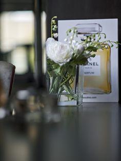 Dressing Table styling inspiration, perfume bottle, Chanel, fresh flowers, feminine