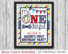 """Mr. ONEderful Party Sign - Printable Mr One-derful Birthday Party Decorations - 8""""x10"""" Welcome Sign - DIY Digital File by PuggyPrints on Etsy https://www.etsy.com/listing/454300482/mr-onederful-party-sign-printable-mr-one"""