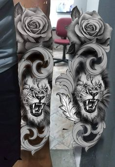 Full Sleeve Tattoo Design, Lion Tattoo Design, Sketch Tattoo Design, Tattoo Sketches, Tattoo Drawings, Lion Head Tattoos, Full Arm Tattoos, Eagle Tattoos, Body Art Tattoos