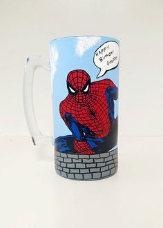 Superhero Inspired Hand Painted Beer Glass. by AWhimsicalHoot on Etsy