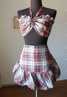 1950's Two Piece Tartan Swimsuit