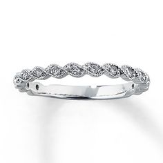 Potential wedding band - I think this is my favorite so far. 14K White Gold 1/8 Carat t.w. Diamond Anniversary Band **Fave