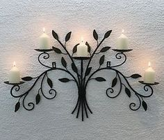 Wall-mounted-Candle-holder-12119-From-Metal-Wrought-iron-70cm-Candlesticks