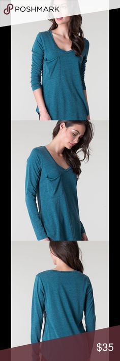 Z Supply Dark Turquoise Long Sleeve Pocket Tee Made from signature burnout jersey, this tee is complete with a curved v-neckline and a slouchy raw edge pocket. Because of its soft feel and chic fit, you will want to stock up in every color. Burnout garments are specially treated for perfectly imperfect variations in color that will evolve with wear and washing. Hand wash or machine wash cold, gentle cycle, lay flat to dry as a heated dryer will accelerate the aging process. Model is wearing…