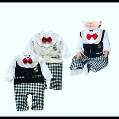 Harvard I outfit with sewed on cute red bow tie  and vests and emblem in beige or black $28.99 each #bowtiefashion #boysfashion #elegant #plaidfashion #onesiefashion #tuxedo #christening #wedding #autumn #vest