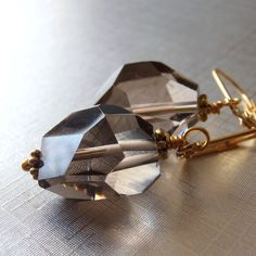 Smokey Quartz Earrings Smokey Brown Faceted Quartz Gemstone Dangle Earrings on Gold